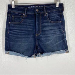 American Eagle Hi-Rise Shortie Jean Shorts Sz 10